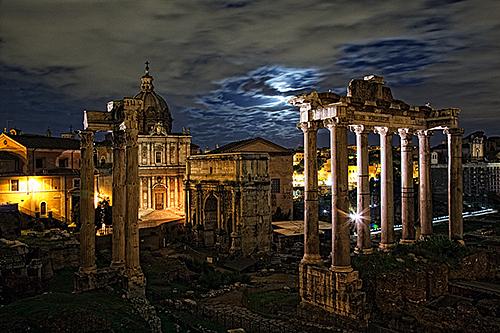 Moonrise over the Curia, Roman Forum