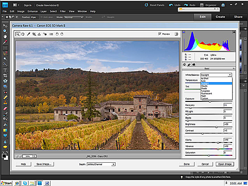 Siena Farmhouse – Camera Raw 6.1 Elements 9 Basic Pallet