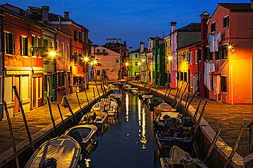 Night Image of Burano Island Italy