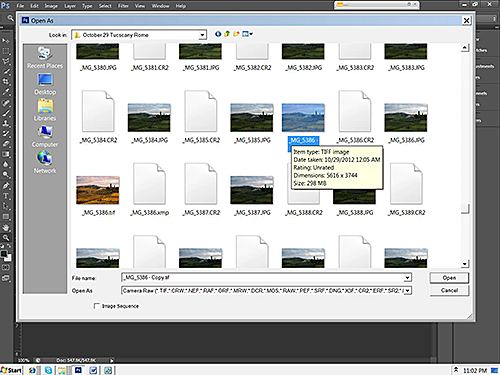 Select the tif or jpg file to open in Camera Raw