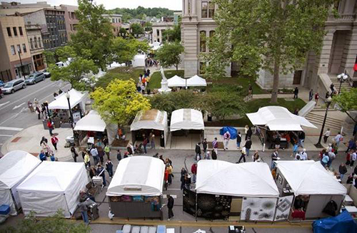 Aerial view of my booth on right by the steps.