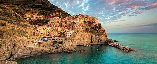 Processed 24x60 Pano crop of Manarola Harbor Cinque Terre