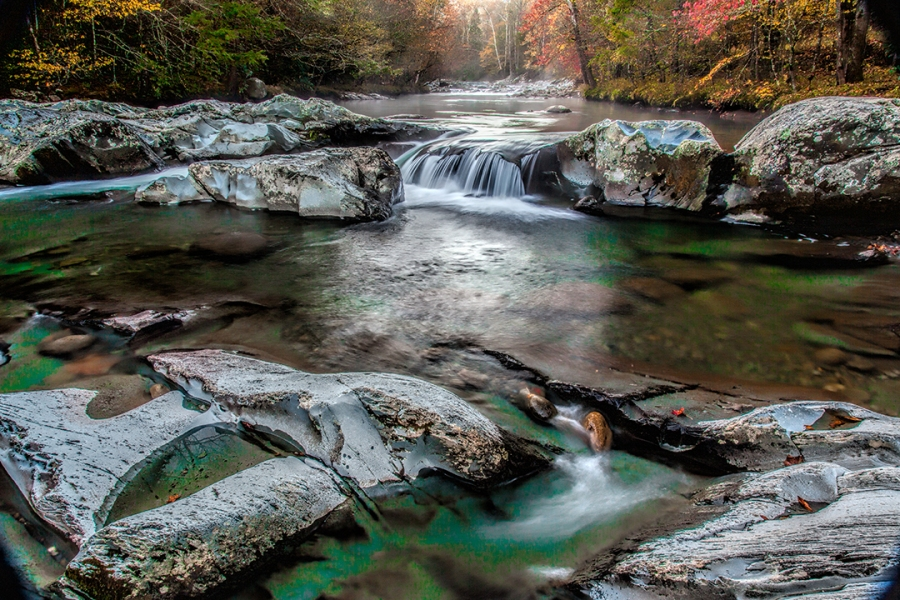 Sunrise along the rivers in the Smoky Mountains
